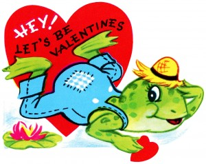 vintage valentine clip art, retro valentine card, printable valentine, frog valentine
