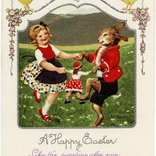 Easter Bunny and Girl Dancing