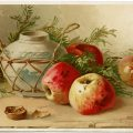 Catherine Klein postcard, apples clip art, antique postcard graphics, vintage vase postcard, printable fruit clipart