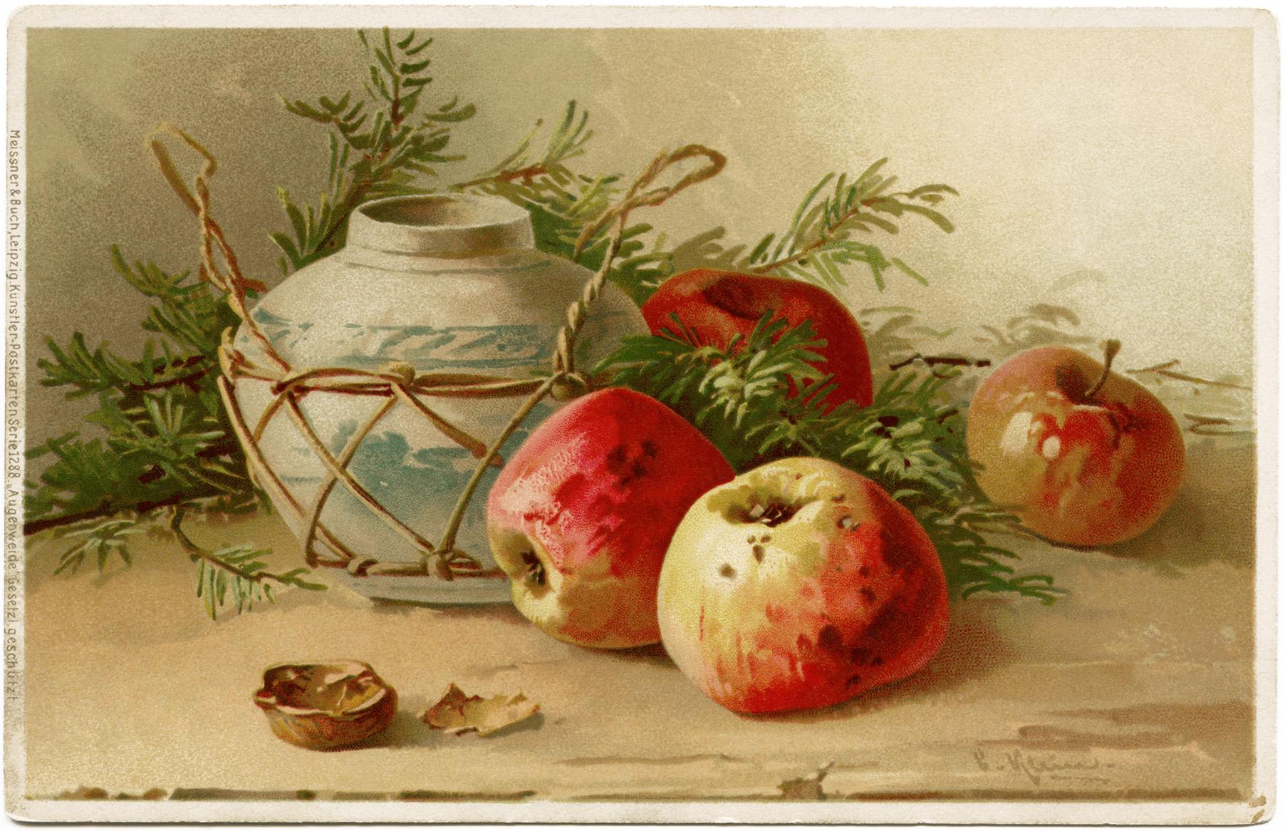 Старинные открытки яблоки и цветы, доброе утро любимая