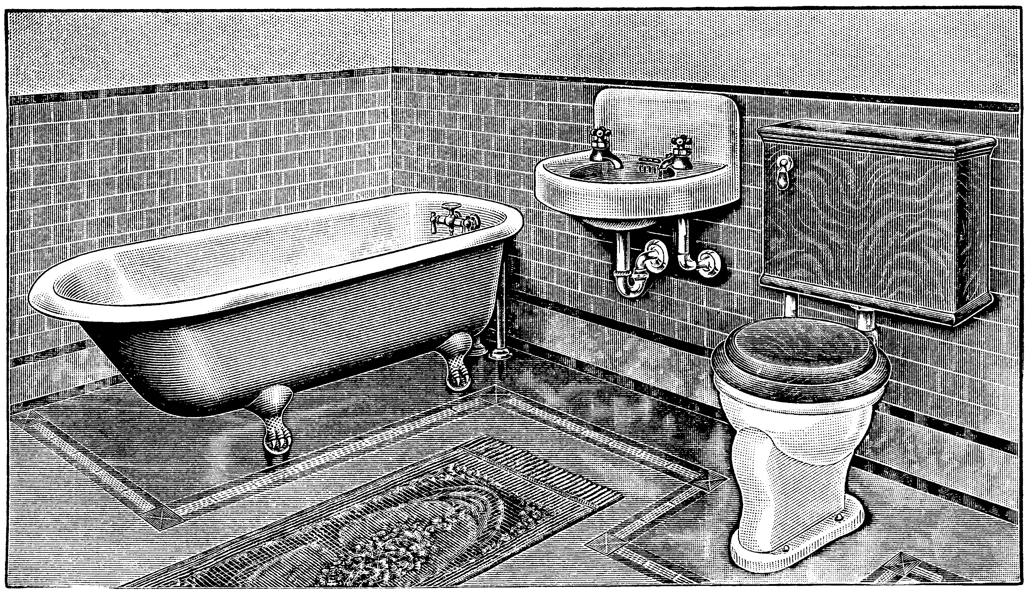 Vintage Bathroom Clip Art Claw Foot Tub Illus Antique Toilet Restroom