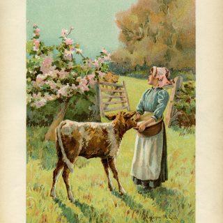 dinner time, Florence M Gill, vintage farm art, Victorian girl clip art, printable vintage, storybook illustration