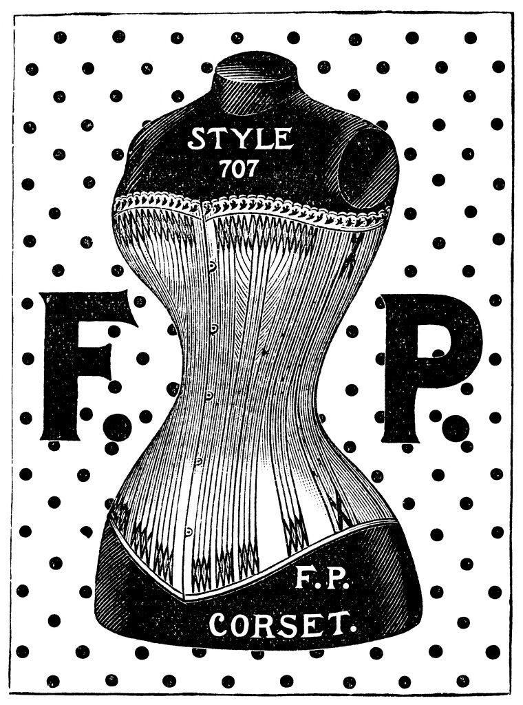 corset ad and clip art old design shop blog