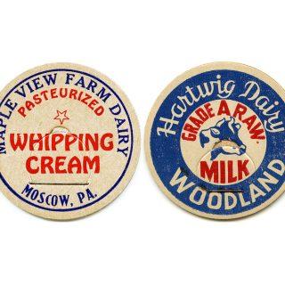 vintage milk cap, dairy ephemera, cardboard bottle cap, paper milk lid