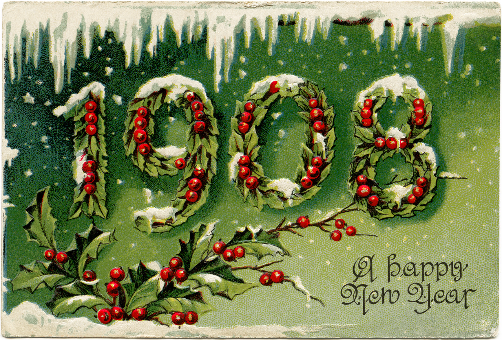 old fashioned new years card victorian new year postcard 1908 new year holly