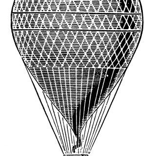 hot air balloon black and white vintage clip art