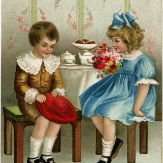 vintage New Year card, Ellen Clapsaddle, Victorian children clip art, boy girl vintage image