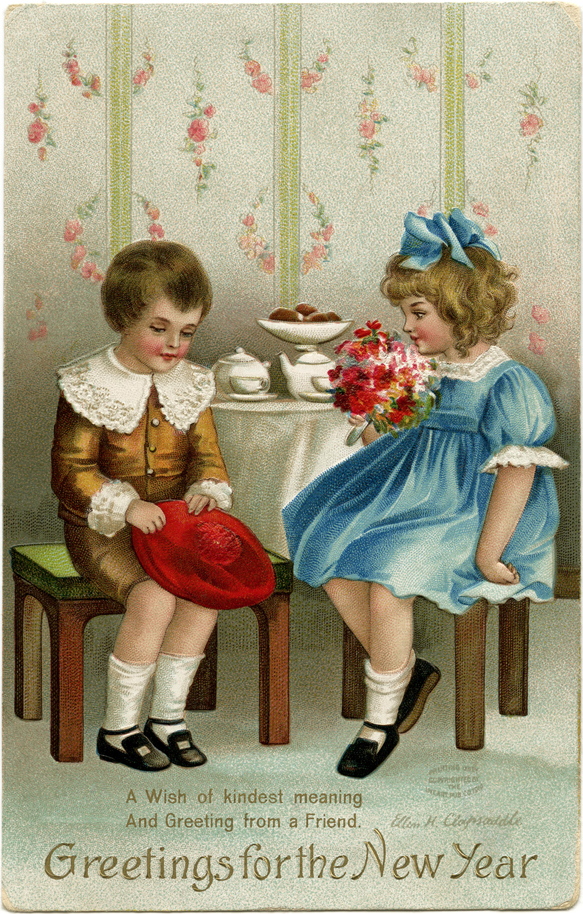 vintage new year card ellen clapsaddle victorian children clip art boy girl vintage