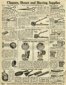 hair clippers, barbers scissors, old catalog page, junk journal printable, antique grooming supplies