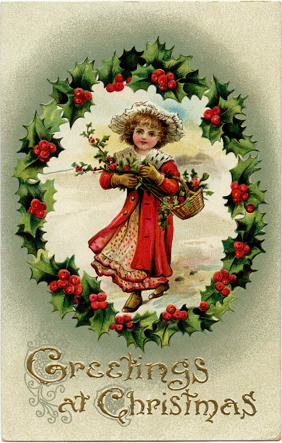 Victorian Girl Holly and Berries Christmas Clip Art - Old Design ...