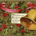 vintage postcard graphics, Christmas postcard, old fashioned Christmas card, holly berries, Christmas bell