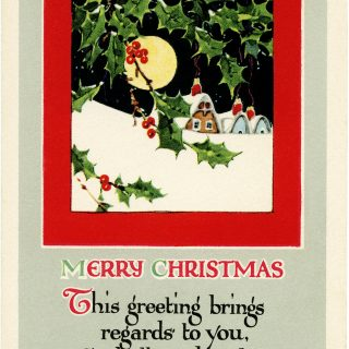 vintage Christmas, snowy village, antique Christmas card, Christmas clip art, vintage postcard graphics