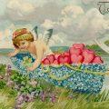 Free vintage clip art valentine postcard cherub dove boat of flowers