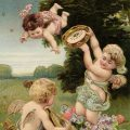 Free vintage clip art valentine postcard cherubs playing in meadow