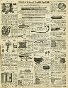vintage fishing tackle, old catalogue page, fishing clip art, junk journal printable