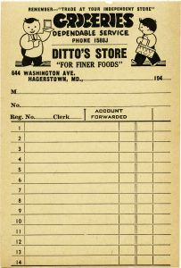 free vintage aged and yellowed grocery store receipt printable