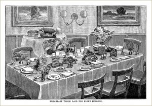 free vintage kitchen clip art Mrs Beeton table setting breakfast