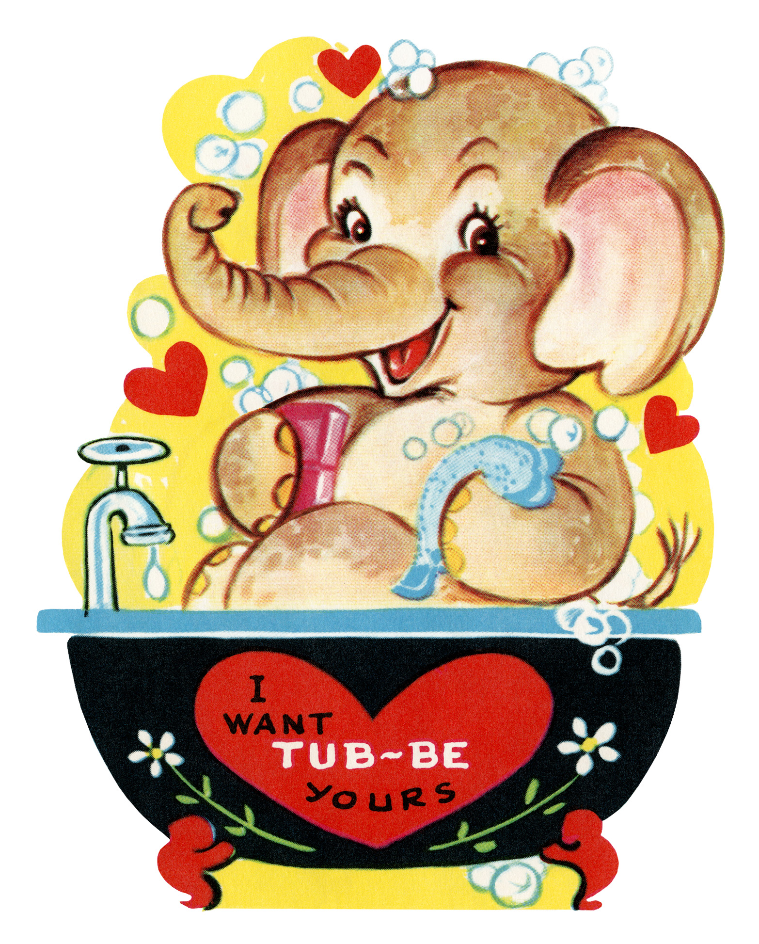photograph relating to Valentine Clip Art Free Printable referred to as No cost Printable Traditional Valentine Elephant within just Bathtub - Previous