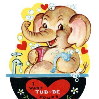 Free Printable Vintage Valentine Elephant in Tub