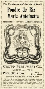 free Victorian clip art crown perfumery face powder advertisement