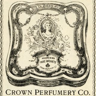 free Victorian clip art crown perfumery face powder advertisement