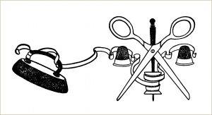 free vintage clip art sewing notions scissors thimble ribbon iron