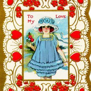Free Vintage Clip Art Valentine Girl in Blue