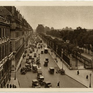 free vintage postcard Paris street illustration