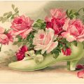 Free vintage postcard clip art Victorian shoe filled with roses