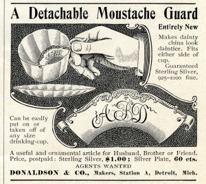 Free vintage clip art moustache guard magazine advertisement