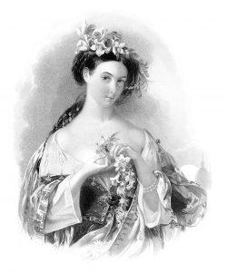 Free vintage clip art D M Clise Victorian lady Hollis engraving
