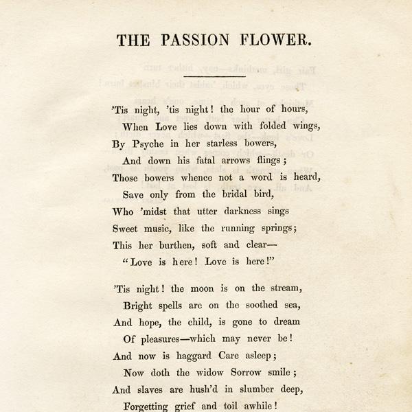 Free Vintage Clip Art Poem Passion Flower Old Design