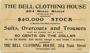 Free vintage advertising card Bell Clothing House