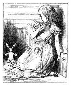 Giant Alice watching white rabbit run away
