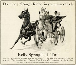 Kelly Springfield antique magazine ad, horse drawn carriage vintage clip art