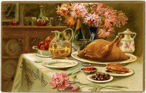 roast turkey thanksgiving dinner free clip art illustration