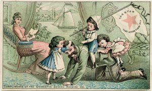 Domestic Sewing Co, Victorian sewing trade card, vintage family illustration