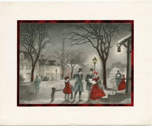 free Victorian Christmas greeting card carollers