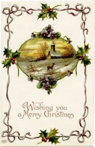 free printable vintage Christmas postcard