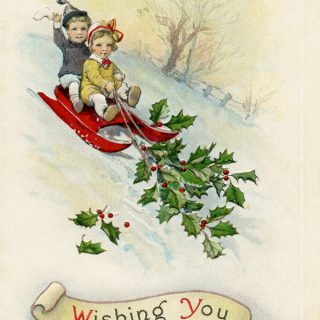 free vintage Christmas printable postcard children sledding