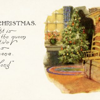 free vintage Christmas printable postcard cozy indoor scene