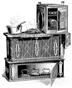 Free vintage cooking stove clip art black and white