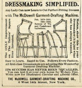 vintage sewing ad mcdowell garment drafting machine