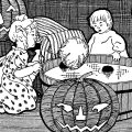 free vintage halloween clip art children bobbing for apples