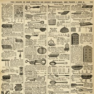 Free vintage kitchen utensils printable catalog page