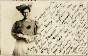 vintage postcard lady holding flowers printable ephemera