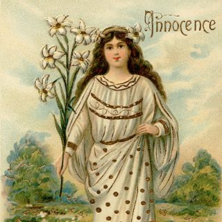 free vintage angel innocence postcard clip art