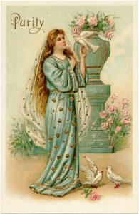 free vintage religious lady postcard illustration