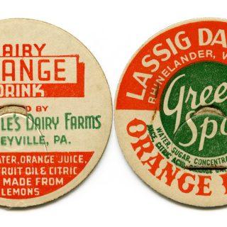 Vintage Dairy Bottle Caps Orange Drink