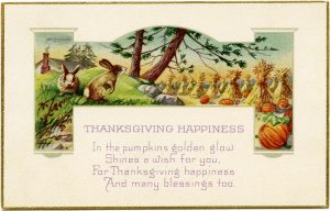 Free vintage Thanksgiving postcard clip art rabbits hay pumpkins